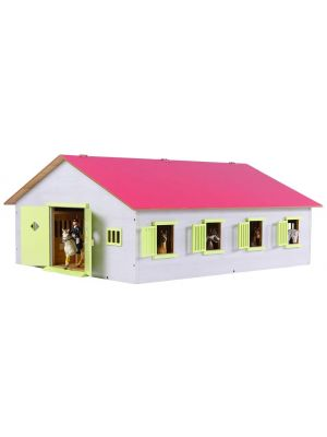 Kids Globe Horse stable Wood Pink 1:24 with 7 Boxes 610189