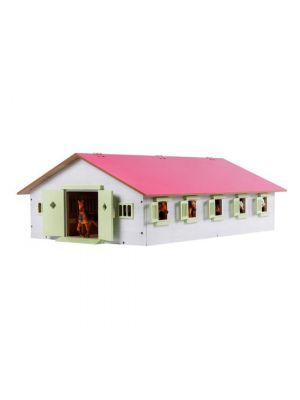 Kids Globe Horse stable Wood Pink 1:32 with 9 boxes 610188
