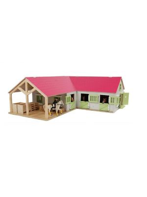 Kids Globe horse stable with 3 boxes and storage room 1:24 pink 610210