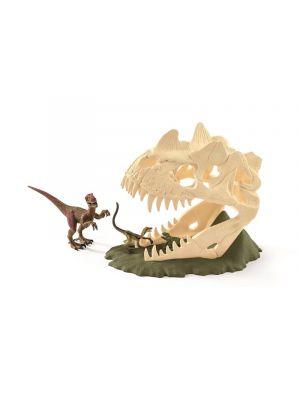 Schleich 42348 Dinosaur Large skull trapp with Velociraptor