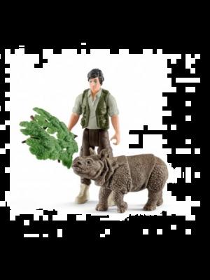 Schleich 42428 Ranger and Indain rhinoceros starter set