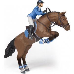 Papo Horses Springpaard met Ruiter Meisje 51560