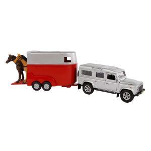 Kids Globe Mitsubishi with horse trailer die cast pink 27cm 520124