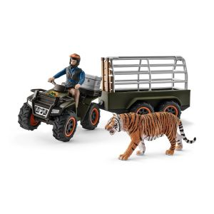 Schleich 42351 Quad bike with trailer and ranger and tiger