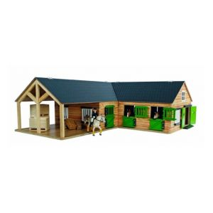 Kids Globe horse stable with 3 boxes and storage room 1:24 brown 610211
