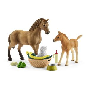 Schleich 42432 Baby animal grooming set & Quarter horse with puppy